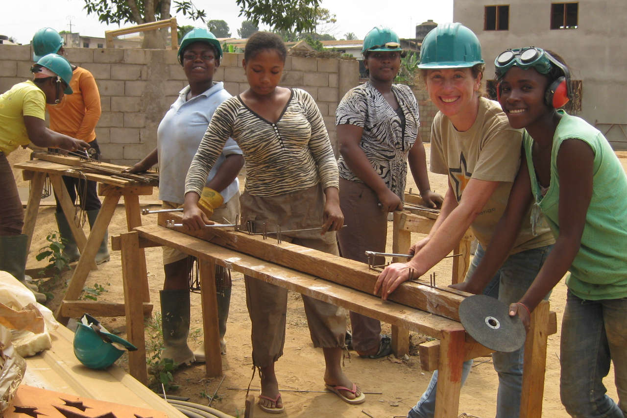 Volunteers on the conference centre project in Yaoundé, Cameroon