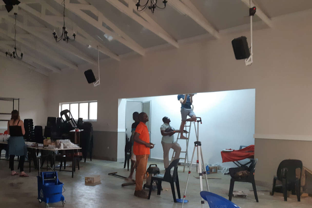 Final touches to the church main hall in Lubumbashi, Congo DRC
